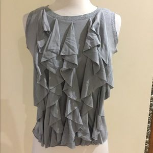 Tops - SALE 3 for $20 Grey Ruffle Front Top